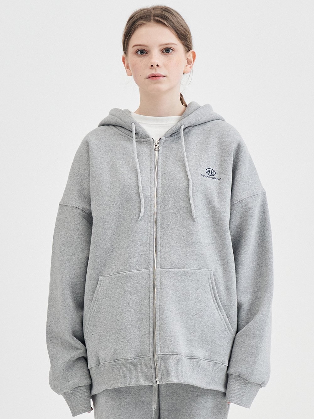 RE capsule logo zip-up hoody (gray)