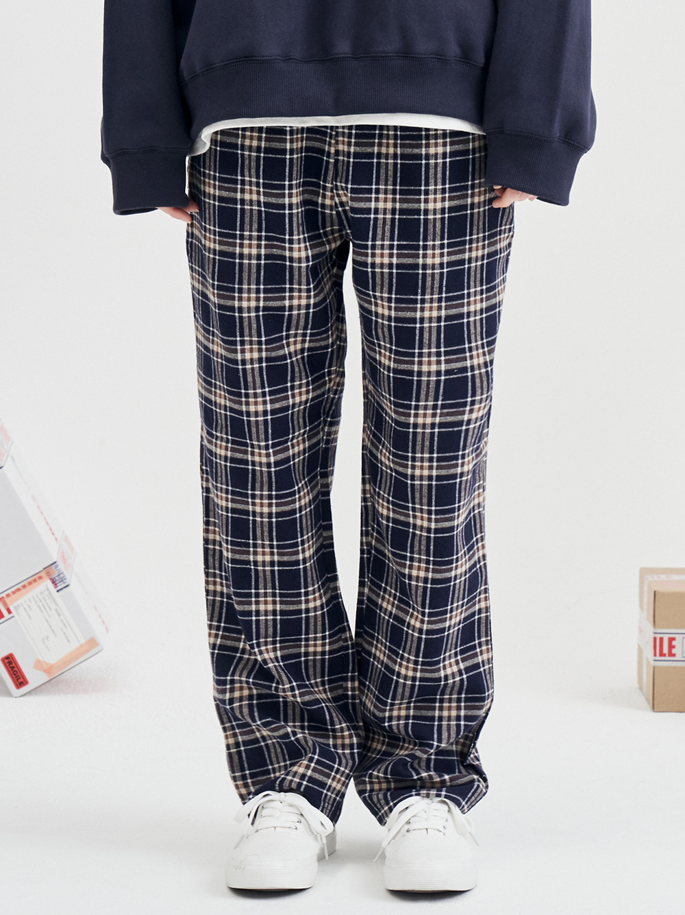 recon check pants (dark navy)